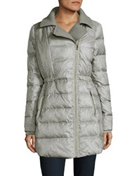 Catherine Malandrino Faux Fur Trimmed Puffer Jacket Light Grey