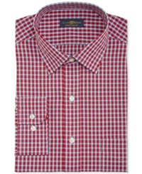 Club Room Estate Wrinkle Resistant Red Small Check Dress Shirt
