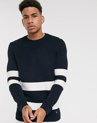 Tom Tailor Knitted Jumper In Colour Block Navy