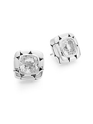 John Hardy Kali White Topaz And Sterling Silver Square Stud Earrings