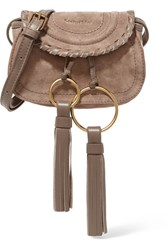 See By Chloe Polly Mini Leather Trimmed Tasseled Suede Shoulder Bag Stone
