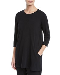 Eileen Fisher 3 4 Sleeve Organic Cotton Jersey Tunic With Pockets Black