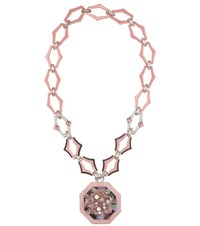 Prada Crystal Embellished Chain Necklace Pink