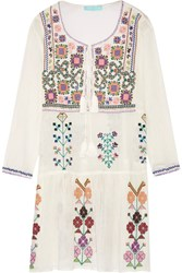 Melissa Odabash Millie Embroidered Crinkled Cotton Gauze Mini Dress Cream