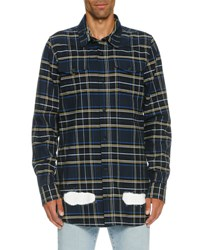 Off White Spray Paint Plaid Flannel Shirt Blue Blue White
