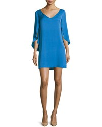 Milly V Neck Butterfly Sleeve Silk Crepe Dress Teal