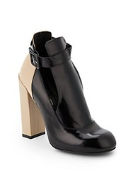 Jill Stuart Delphine Mixed Leather Ankle Boots Black Cream