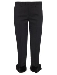 Undercover Fur Cuff Pinstriped Trousers Black
