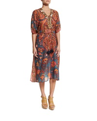Figue Brianna Embellished Front Caftan Coverup Blue Paisley
