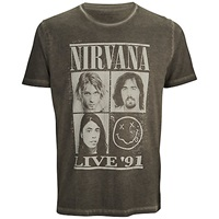 Selected Homme Nirvana Grapic Print T Shirt Pirate Black