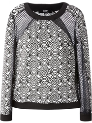 Versus Mesh Panel Graphic Intarsia Sweater