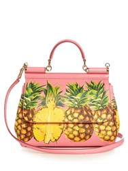 Dolce And Gabbana Sicily Medium Pineapple Print Leather Tote Pink Multi