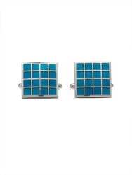 Paul Costelloe Teal Square Grid Cufflinks Green