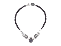 King Baby Studio Black Cz Heart W Wings On 6Mm Onyx Necklace 16