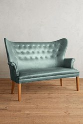Anthropologie Premium Leather Wingback Bench Storm