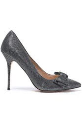 Lucy Choi London Bow Embellished Sequined Leather Pumps Black