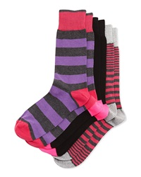 Neiman Marcus Three Pair Sock Set Stripe Skull Stripe
