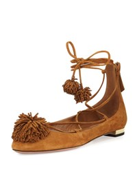 Aquazzura Sunshine Suede Pompom Lace Up Flat Cognac