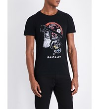 Replay Biker Graphic Print Cotton Jersey T Shirt Black
