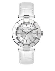 Versus By Versace Logo Stainless Steel White Leather Strap Watch Sp8120015