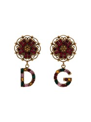 Dolce And Gabbana Multicoloured Branded Charm Flower Drop Earrings Gold