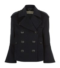 Burberry Bell Sleeved Wool And Cashmere Pea Coat Female Navy