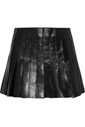 Belstaff Holborne Pleated Leather Mini Skirt Black