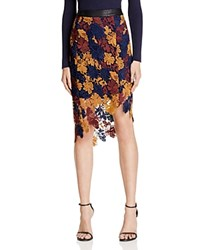 Astr Betty Multi Color Floral Lace Midi Skirt Navy Wine Multi