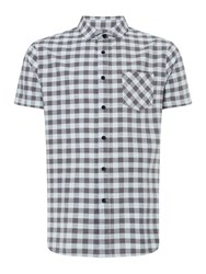 Criminal Meltham Gingham Short Sleeve Shirt Blue