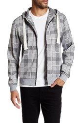 Smash Plaid Zip Front Hoodie Gray