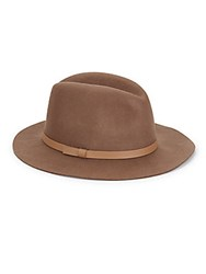 Saks Fifth Avenue Wool Boater Hat Taupe