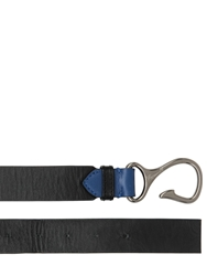 F. 30Mm Reversible Leather Belt With Hook Blue Navy