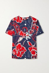 By Malene Birger Acome Floral Print Cotton Blend Twill Top Navy