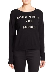 Milly 'Good Girls Are Boring' Cashmere Sweater Black