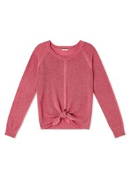 Dash Coral Tie Front Knit Top Pink