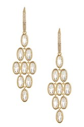 Nadri Oval Cz Chandelier Earrings Metallic