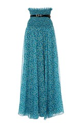 Philosophy Di Lorenzo Serafini Printed Georgette Sheer Long Skirt Blue