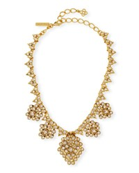 Oscar De La Renta Teardrop Framed Crystal Statement Necklace Gold