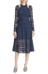 Tracy Reese Surplice Lace Midi Dress India Ink