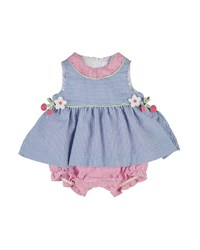 Florence Eiseman Striped Seersucker Play Dress Blue Pink