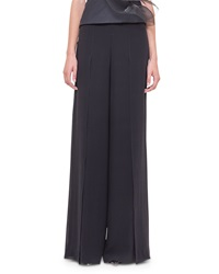 Akris Front Slit Wide Leg Pants Black