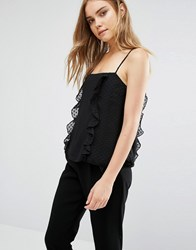 Warehouse Frill Detail Cami Top Black