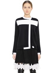 Givenchy Neoprene Band Wool And Cashmere Sweater Black White