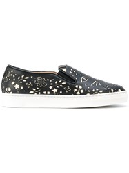Charlotte Olympia Cool Cats Sneakers Women Leather Rubber 38 Black