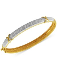 Macy's Diamond Accent X Bangle Bracelet In Silver Plated Bronze And 18K Rose Gold Over Silver Plated Bronze Two Tone