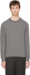 Maison Martin Margiela Black And White Striped Elbow Patch Sweater