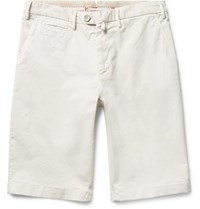 Isaia Slim Fit Stretch Cotton Twill Shorts White