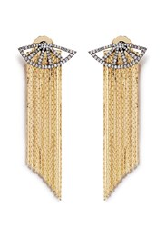 Venna Strass Pave Fan Fringe Drop Earrings Metallic
