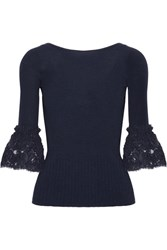 Oscar De La Renta Corded Lace Trimmed Ribbed Merino Wool Top Navy