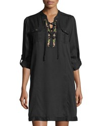 Philosophy Lace Up Embroidered Shift Dress Black Pattern